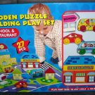 Wooden Puzzle Building Play Set SCHOOL & RESTAURANT * NEW IN BOX * 27 Pieces