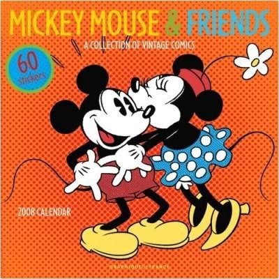MICKEY MOUSE & FRIENDS 2008 WALL CALENDAR +60 STICKERS
