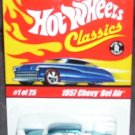 Hot Wheels Classics 1957 CHEVY BEL AIR #1 of 25 Series 1 Diecast Car BLUE NEW