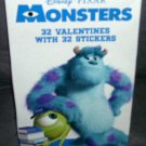 Disney Pixar MONSTERS, INC. 32 Valentines with 32 Stickers NEW!