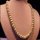 Textured Necklace Vintage Golden Beads on Chain