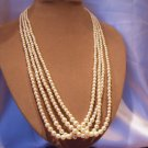 Vintage 4 Strands Faux Pearls Beaded Necklace