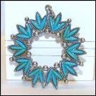 Vintage Faux Turquoise Pendant Petit Point Stones Jewelry
