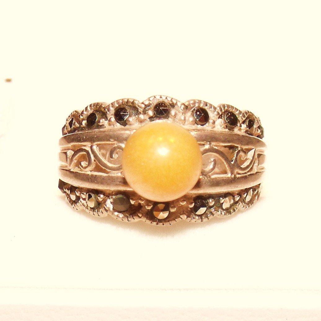 Sterling Marcasite Band Ring Designer Signed ACI Vintage