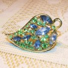 Pin Brooch Vintage Green Blue Rhinestones Jewelry