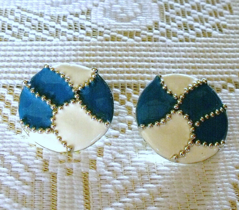 Designer Signed Don-Lin Turquoise White Enamel Post Earrngs Vintage