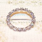 Brilliant Rhinestones Pin Brooch Vintage Round Jewelry