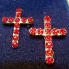 Pair Red Rhinestones Crosses Pins Brooches Vintage