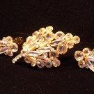 Juliana Style Rhinestones Pin Earrings Vintage Set