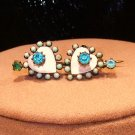 Victorian Pin Turquoise Rhinestones Hearts C Catch Repair