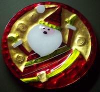 Plaid Tidings Santa Glass Serving Plate Christmas