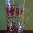 5 Piece Mid Century Mod Ruby/Gold Pitcher & Glasses