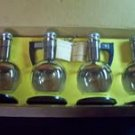 Inland Glass 4 Carafettes Clear w/ Gold Band & Box