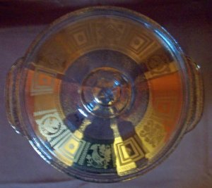 Fire King 2 Qt Casserole with Gold Culver Design- Rare