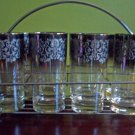8 Mid Century Deco Glasses w/ Rack Mad Men Style