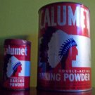 2 Viintage Calumet Tins 5lb and 1/2lb Sizes