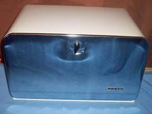 Mid Century Bread Box White and Stainless Steel Retro