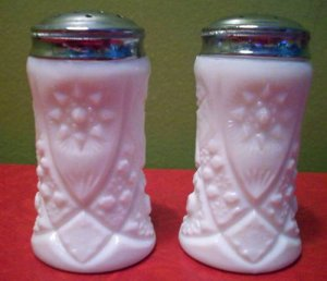 2 Milk White Glass Salt and Pepper Shakers