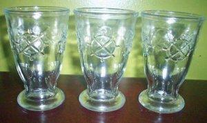 3 Vintage Jelly Jar Juice Glasses Footed