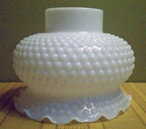 White Glass Hobnail Ceiling Fixture Shade Vintage