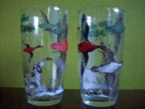 Pair Vintage Hunting Motif Glasses- Dog, Trees, Geese