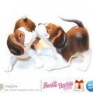 Barbie Doll Accessories: Twin Pet Basset Hound Puppy Dog Friends Lot! ADORABLE Pets!