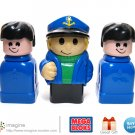 Mega Bloks (Blocks) Figure Lot - Sea Captain and Two Black Haired Blue Clothed Men - Megabloks