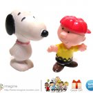 "Rare Vintage Peanuts 2"" Figures PVC Charlie Brown ©1965 and Rubber Snoopy ©1966"