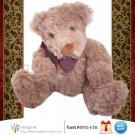 "Russ Berrie HIGGINS Curly Brown Teddy Bear 7"" Plush Vintage Style Stuffed Animal Christmas"