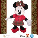 "Walt Disney 9"" MINNIE MOUSE Plush Stuffed Animal with Beautiful Red and Green Plaid Christmas Dress"