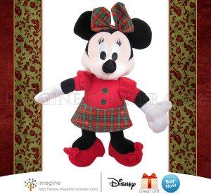 "Walt Disney 9"" MINNIE MOUSE Plush Stuffed Animal with Beautiful Red and Green Plaid Christmas Dress"