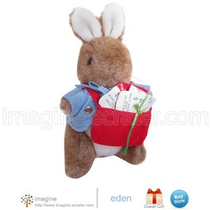 "Rare Beatrix Potter 9"" Peter Rabbit Cottontail Holiday Mail Plush Christmas Stuffed Animal by Eden"