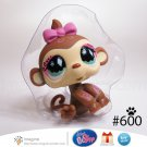 Littlest Pet Shop LPS Fanciest Baby Monkey Girl Chimp with Pink Bow & Fancy Swirls # 600