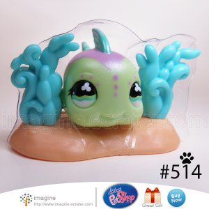 Littlest Pet Shop LPS Green & Purple Fish with Aquatic Plant Base Accessory # 514 Littlest Series