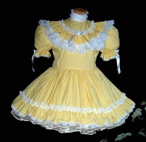 Adult sissy Yellow Gingham Dress