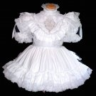 White Bridal Satin Ruffled Dress