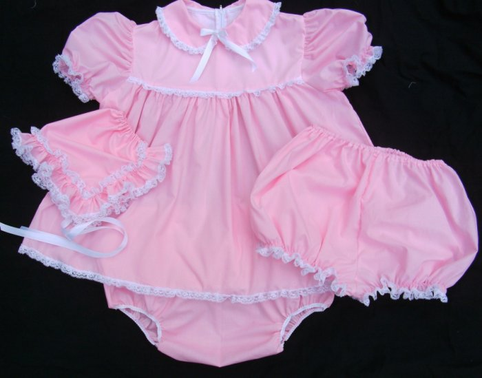 Adult Sissy Baby 3pc  Dress Set~Pink