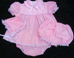Adult Sissy Baby 3pc  Dress Set~Pink