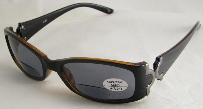 577RDB-300 TINTED READING GLASSES SUNGLASSES SUN READERS DARK BROWN PLASTIC FRAME +3.00 BIFOCAL