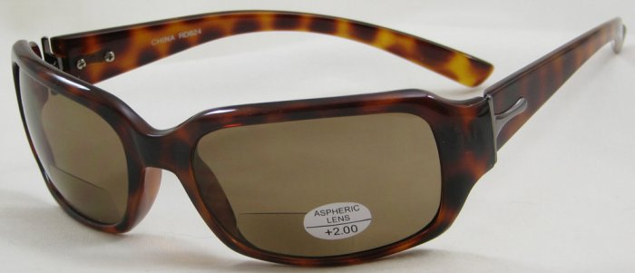 624RLST-200 TINTED READING GLASSES SUN READERS LEOPARD SPOTTED TORTOISE PLASTIC FRAME+2.00 BIFOCAL