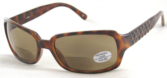 933RLST-300 SUN READERS TINTED READING GLASSES LEOPARD SPOTTED TORTOISE PLASTIC FRAME +3.00 BIFOCAL