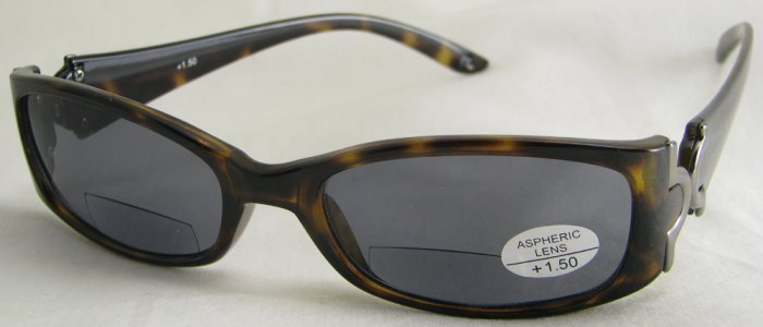 577RT-150 TINTED READING GLASSES SUNGLASSES TORTOISE PLASTIC FRAME SMOKE LENSES +1.50 BIFOCAL