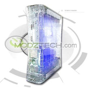 XBOX 360 CLEAR MOD CASE GHOST SHELL w/ BLUE LED LIGHTS & TOOL KIT