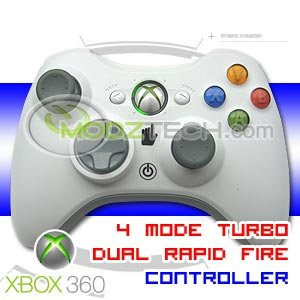 XBOX 360 4 MODE Dual Rapid Fire Turbo Modded Wireless Controller L R Trigger Turbo