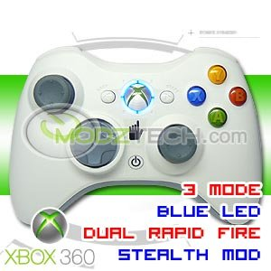 XBOX 360 3 MODE RAPID FIRE TURBO Wireless Controller (STEALTH MODDED) with BLUE LED Lights