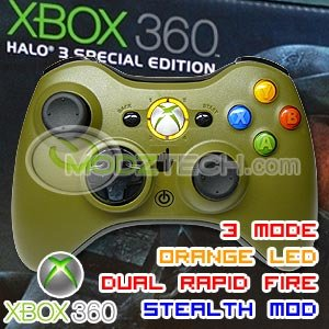 XBOX 360 Rapid Fire Turbo Stealth Modded HALO 3 Limited Edition Wireless Controller w ORANGE LED