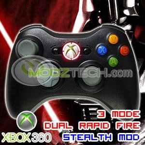 XBOX 360 3 MODE RAPID FIRE ELITE BLACK CONTROLLER + RED LED LIGHTS Star Wars Darth Vader Colors