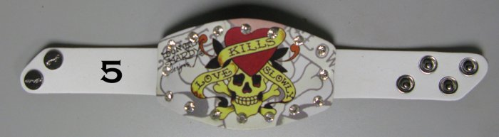 Ed Hardy Leather Bracelet (Love kills slowly) in WHITE