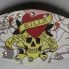 Ed Hardy Leather Bracelet (Love kills slowly) in WHITE
