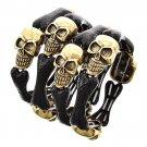 Skull and Bones Day of the Dead Stretch Metal Halloween Bracelet Bangle